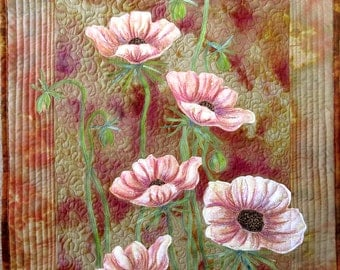 Hand painted fabric art quilt, wallhanging - Poppies