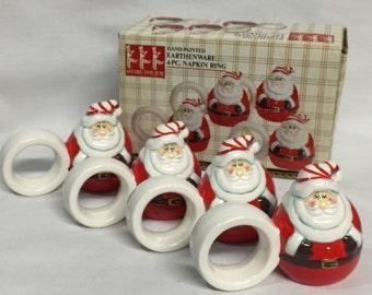 Santa Napkin Rings Set of 4 / Santa Dinnerware / Santa Napkin Holders / Santa Claus / Holiday Decor