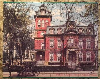 Vintage North Adams MA Houghton Memorial Public Library Postcard Puzzle