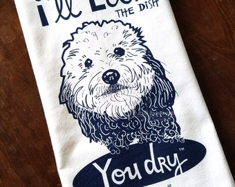 Doodle I'll Lick the Dish YOU Dry, Trademark in Navy Blue Ink Kitchen Towel