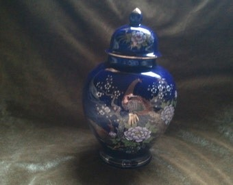 Asian Oriental Cobalt Ginger Jar Gold Trimmed...Free Shipping!