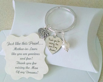 Mother Of Groom Gift From Bride, Thank You For Raising The Man Of My Dreams, Mother of Groom,  Pearl KEYCHAIN, Charm is Size of a Nickel