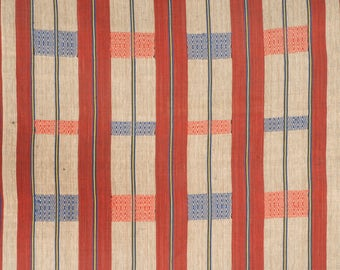 Naga cotton fabric, Naga ethnic boho textile, red beige blue tan striped handwoven blanket bedspread runner, heavy cotton naga textile. TH6