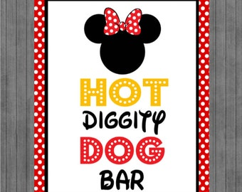 Minnie Mouse Birthday Sign, Hot Dog Bar, Red, Yellow