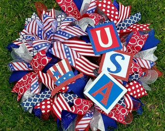 Patriotic Wreath, 4th of July Wreath, Memorial Day Wreath, Red White Blue Wreath
