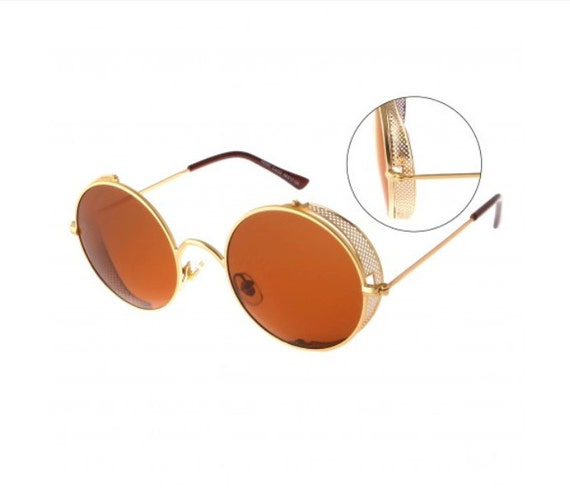 Thin Gold Frame Sunglasses : Round Thin Gold Color Frame Perforated Cover Sunglasses