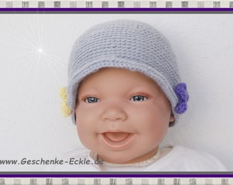 Baby hat of new born Hat purple yellow grey with crochet flowers