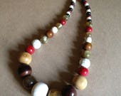 Necklace   bead necklace retro design amber iridescent marbled plastic beads cream crackle beads mixed autumn shades