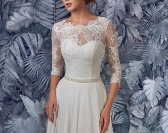 Bridal Dress - Polly Wedding Stunning Lace Dress - Long Wedding Dress - Elegant Wedding Dress - Simple Wedding Dress - Abito da Sposa