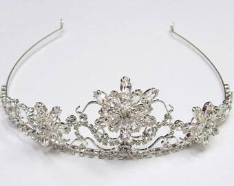 Wedding Tiara - Rhinestone Tiara - Acacia Bridal Rhinestones Tiara - Bridal Tiara - Bridal Hair - Diamante Crown -  Crystal Wedding Crown