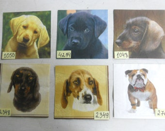 Decoupage paper napkins ''Dogs from Photos''-party napkins/paper napkins/craft supplies.