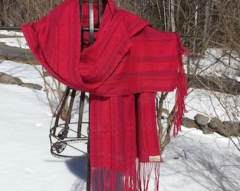 Handwoven Cotton Summer Shawl in Reds