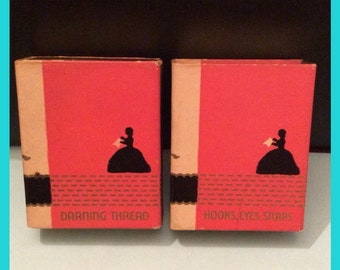 Set of Two (2) VINTAGE DENNISON Little Sewing Library Matchbox Books