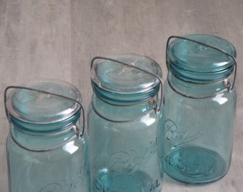 Vintage Aqua Canning Jars with Wire Closure - with lids - lot of three