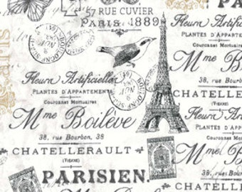 Quilting Fabric, Craft Fabric, French Script Fabric, Eiffel Tower, Paris, Birds/Butterfly, Apparel Fabric, Sewing Material, Cotton Fabric