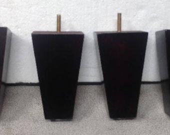 "JWT157 4 Furniture Legs Feet Tapered Couch Sofa Ottoman Dark Mahogany 5.5"" tall"