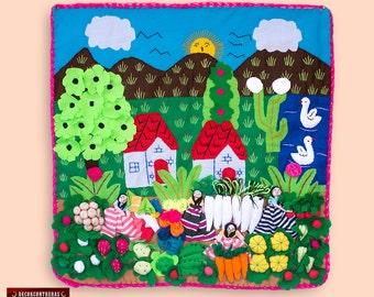 "Arpillera quilted wall hanging 19.7"" - 3d quilt pattern- embroidered wall art - Peru Folk art - peruvian textile - fabric wall hanging quilt"