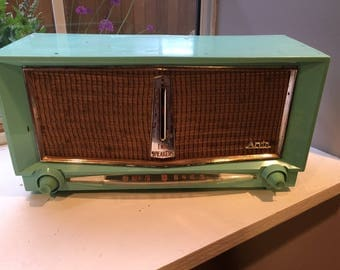 Vintage Arvin Model 956T Turquoise Tube Radio, Working Condition