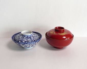 Japanese antique - a porcelain rice bowl and a lacquered soup bowl set - late 19C - WhatsForPudding #2180a