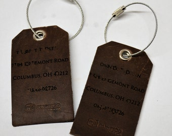 4 Personalized Leather Luggage Tags, Custom engraved, Leather Travel Tag