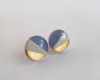 White and Blue Gray with 23k Gold  Round Stud Earrings - Surgical Steel Posts