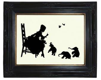 Silhouette Art Print Girl reads to Baby Elephants Victorian Steampunk Art Print Nursery Book Library Paper Cut