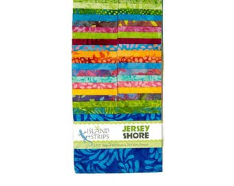 "Island Batik Jersey Shore Green Purple Pink Batiks Jelly Roll Strips Pack 40 2.5"" Strips of Fabric"