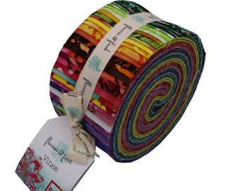 "RJR Finch and Flauire Vines Blossom Batiks Blue Green Purple Jelly Roll 2.5""  Strips Fabric"
