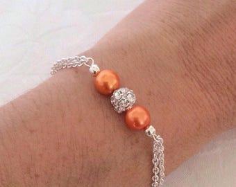 Pearl Bracelet, Orange Bracelet, Tangerine Jewelry, Orange Jewelry, Bridesmaid Jewelry, Wedding