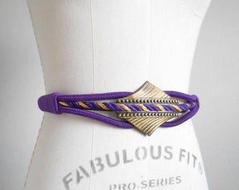 30% SALE - 80s vintage belt - purple rope belt gold - 80s Royal Welcome belt