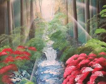 Spray paint art Forest Woods Red Flowers
