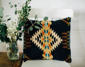 Boho Pillow Cover, Accent Pillow, Geometric pillow cover, southwestern pillow cover, tribal throw pillow, bohemian pillow in Pendleton Wool