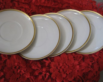 50% Off 5  Limoges Haviland Saucers white Gold Trim