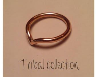 Copper chevron ring
