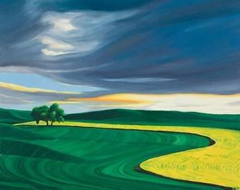 Storm over Palouse Wheat & Canola Field Landscape (giclee print)