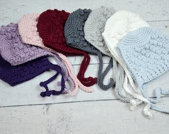 crochet cotton bonnets,baby crochet photo prop,newborn cotton bonnet,winter baby hat,crochet cotton hat,crochet baby bonnet,holiday baby hat