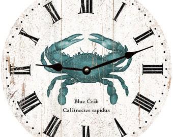 Blue Crab Wall Clock- Rustic Crab Clock
