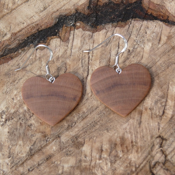 Valentine Heart earrings, Love earrings, I love you earrings, Gift for wife, sister or daughter, 5th anniversary wood gift, Girlfriend