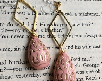 Pink and Gold Victorian Invisible Clip On Earrings / Bridal Clip Earring / Art Nouveau Drop Clipon / Geometric