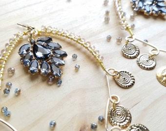 Bohemian Wire Wrapped Chandelier Earrings - Bohn J Sell Fall 2017 Collection Jewelry Runway Sample Delicate Bohemian Glam Gypsy Bride