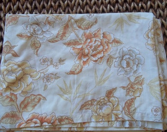 Vintage Twin Flat sheet Brown Tan Peachy Beige White Flowered Sheet Made in USA for Dan River
