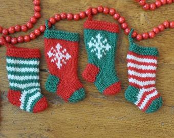 Stripes & Snowflakes Hand-Knit Christmas Stocking Ornaments    Set of 4  Hand-Knit Ornaments  Hand-Knit Stockings