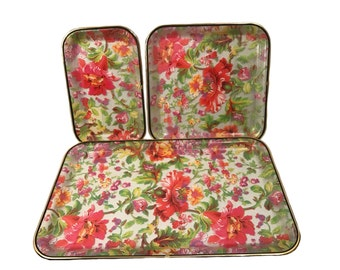 Vintage Plastic Serving Tray Set - Floral Serving Tray Set Gold Trim