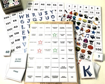 Magnetic Connections Game - Educational Conceptual Learning System with 8 Bingo Game Boards - English or French Language, Math, Grammar