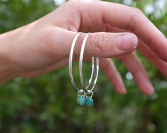 Large Hoop Earrings with Dangling Turquoise Stones - Sterling Silver