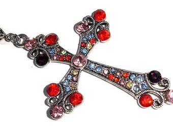 Cross Pendant Silver Cross Pendant Colorful Crystal cross Pendant for Faithful Rhinestone cross Multi color Cross Necklace gift for her