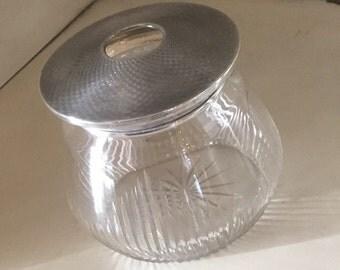 Antique silver lid crystal jar Hair Receiver Holder