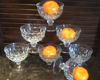 7 Vintage Glass Sherbert or Dessert Cups.