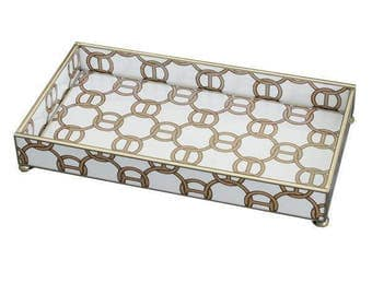 """Brown Chain Link Metal and Glass 6"""" x 12"""" Tray"""
