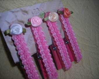 Shabby-chic style magnetic clothes pins